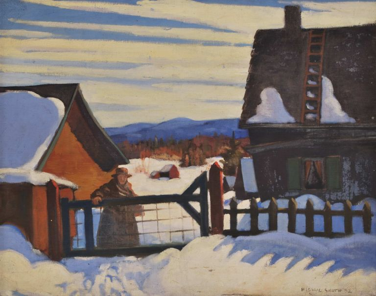 [Winter Scene With Figure At Farm Gate]. H. Leslie Smith, Canadian.