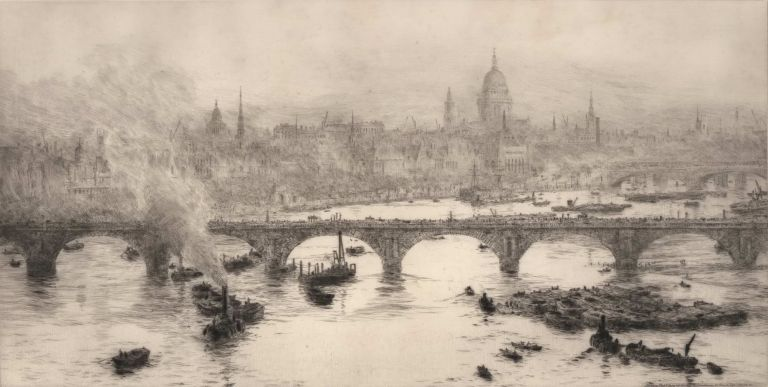 [Westminster Bridge And St Paul's On The Thames, London, England]. William Lionel Wyllie, British.