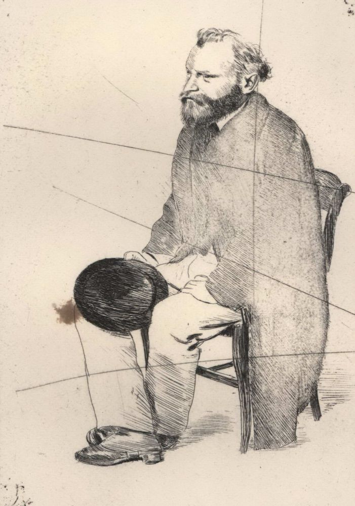 Manet Seated, Turned To The Left. Edgar Degas, French.