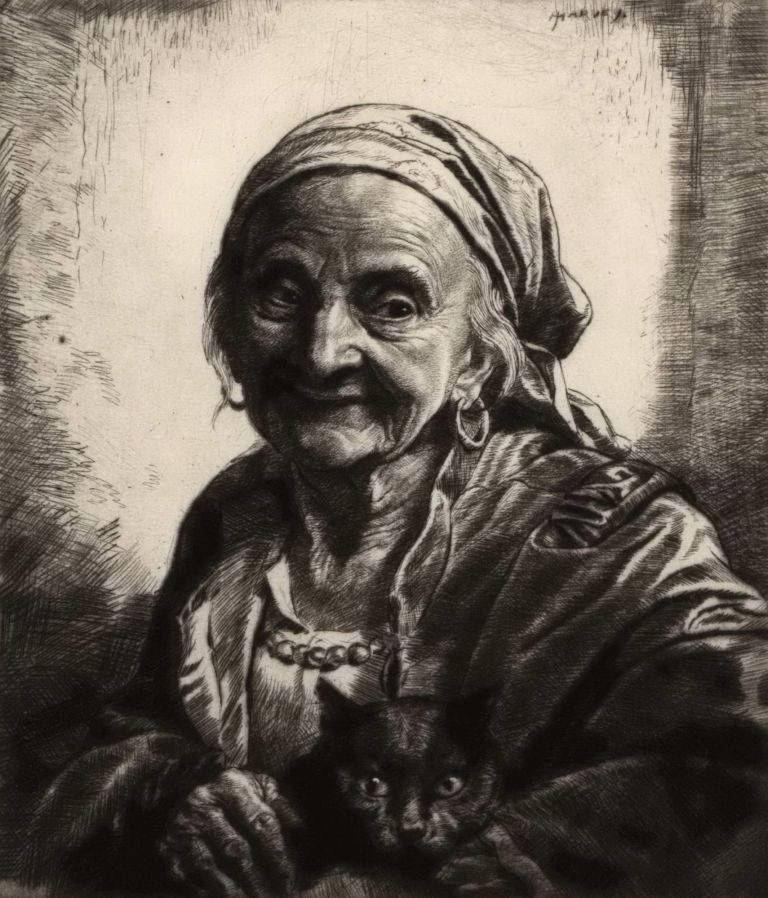 [Old Gypsy Woman With Black Cat]. Herbert Johnson Harvey, Brit.