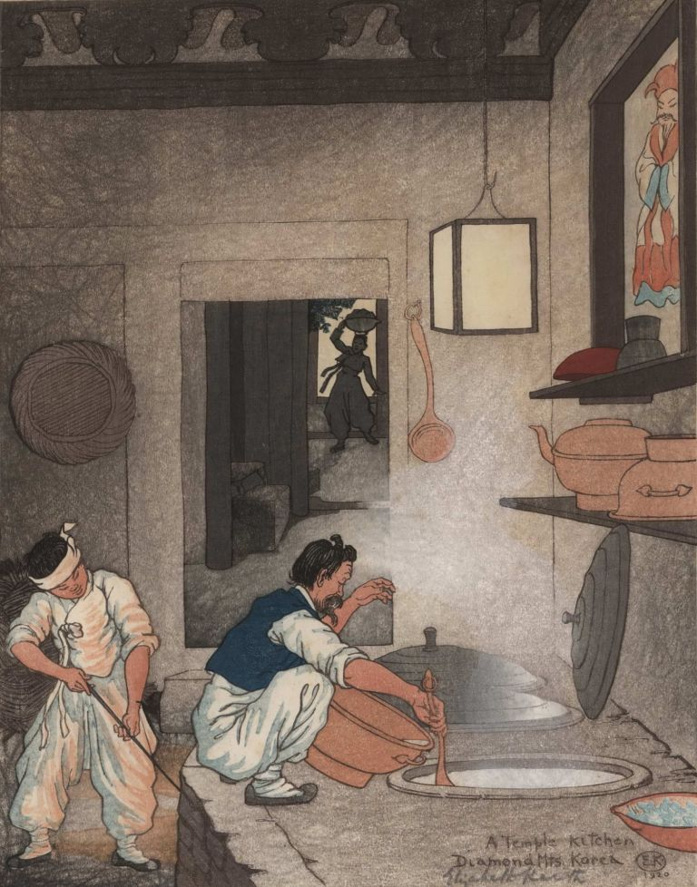 A Temple Kitchen, Diamond Mts, Korea. Elizabeth Keith, British.