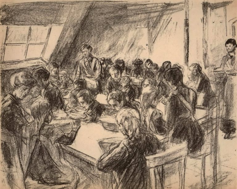 Public Kitchen For Children. Max Liebermann, German.