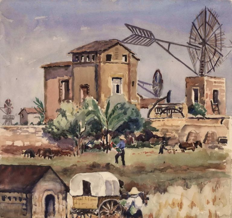 [Spanish Farm With Mills And Covered Wagon]. Betty Solomons, fl 1923- 1940s Aust.