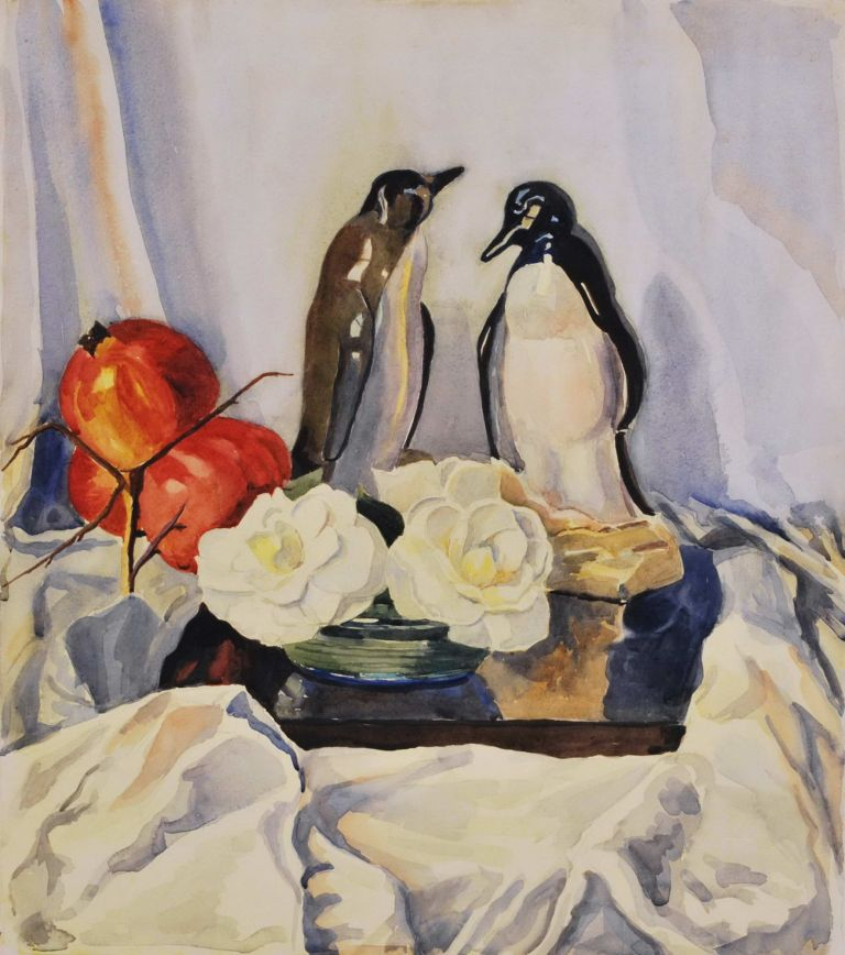 [Still Life With Penguin Figurines And Pomegranates]. fl. Aust., s.