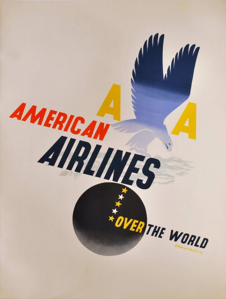 American Airlines. Over The World. Edward McKnight Kauffer, Amer.