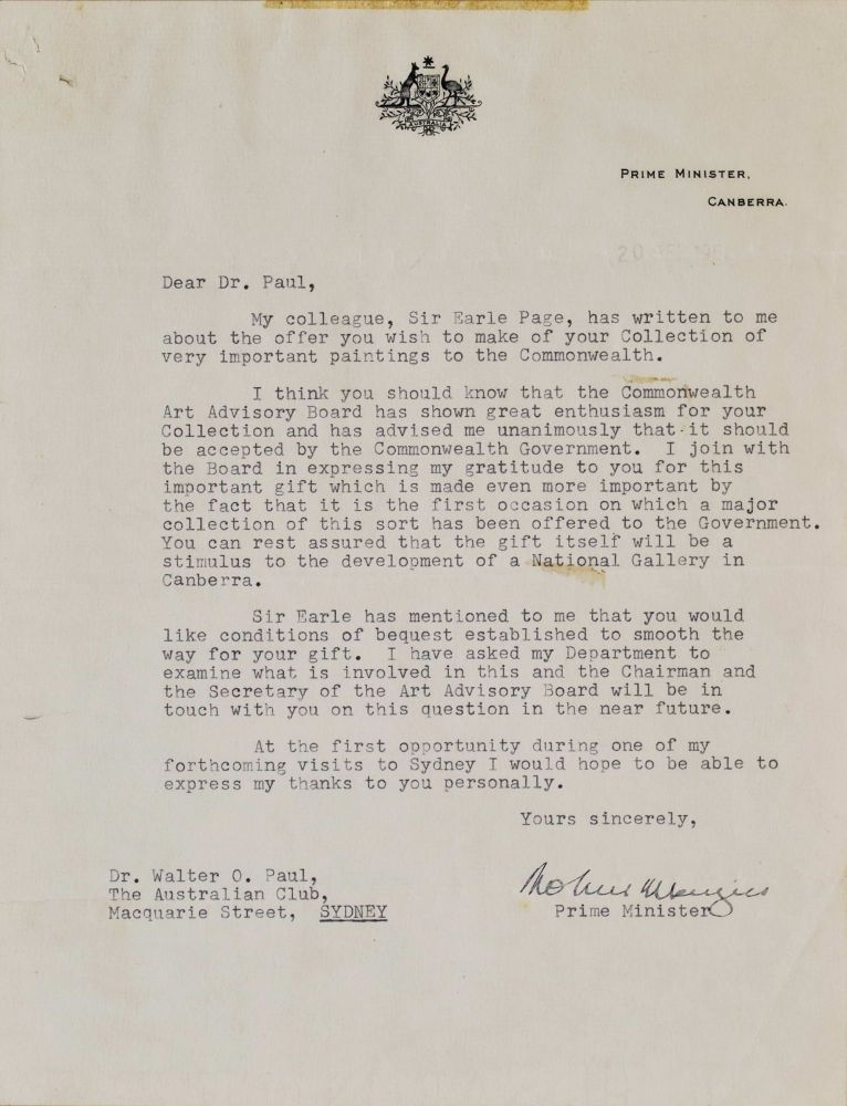 Letter From PM Robert Menzies To Dr Walter O. Paul [Donation To National Gallery Of Australia]