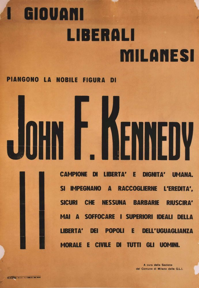 John F. Kennedy (Young Milanese Liberals Mourn…)