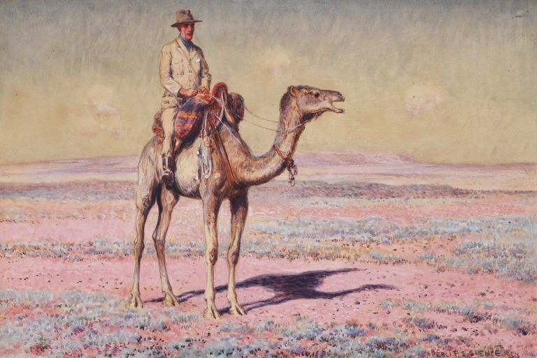 [Man Riding Camel In Desert]. Percy Spence, Aust.