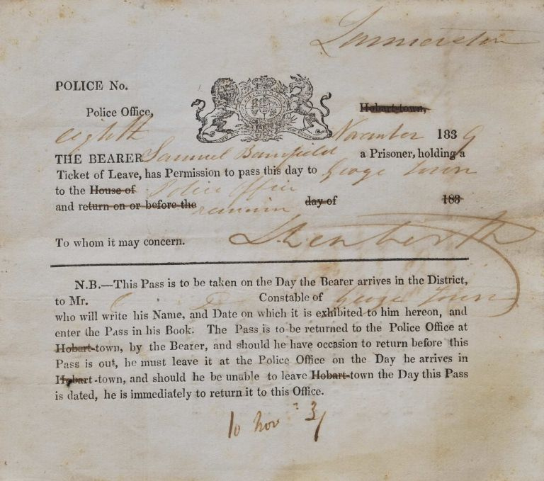 Ticket Of Leave For Prisoner Samuel Banfield To Pass From Launceston To George Town, Tasmania