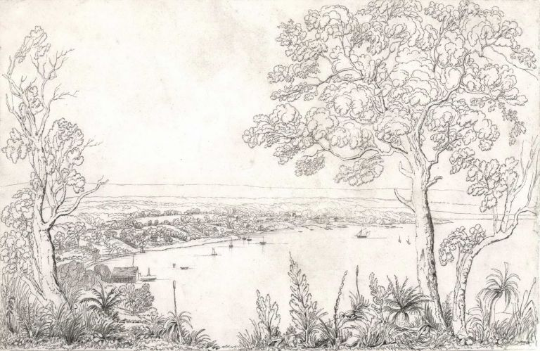 Sketch Of The Town Of Perth From Perth Water, Western Australia. Charles Dirk Wittenoom, c. Brit./Aust.