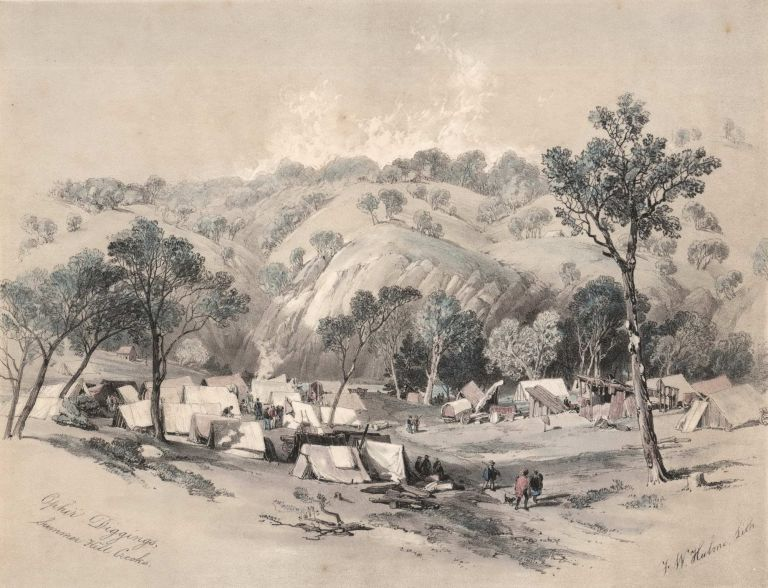 Ophir Diggings, Summer Hill Creeks [Gold Fields, Bathurst, NSW]. Frederick William Hulme, Brit.