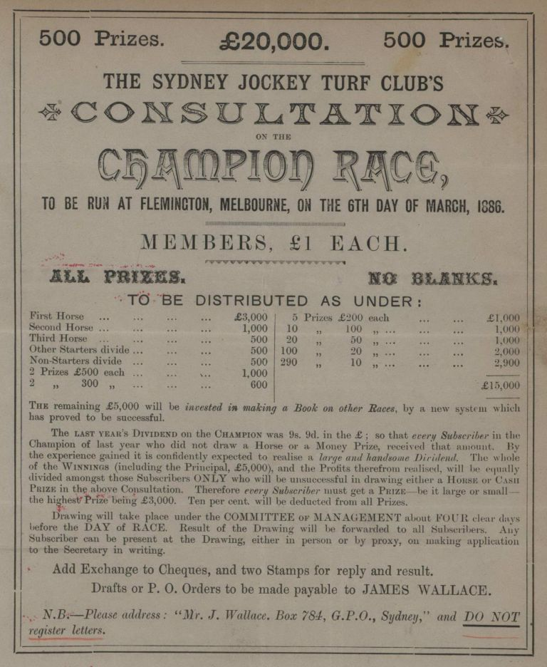 The Sydney Jockey Turf Club's Consultation On The Champion Race, To Be Run At Flemington, Melbourne [Sport Betting Scam]