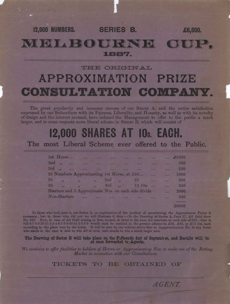 Melbourne Cup [Sport Betting Ephemera]