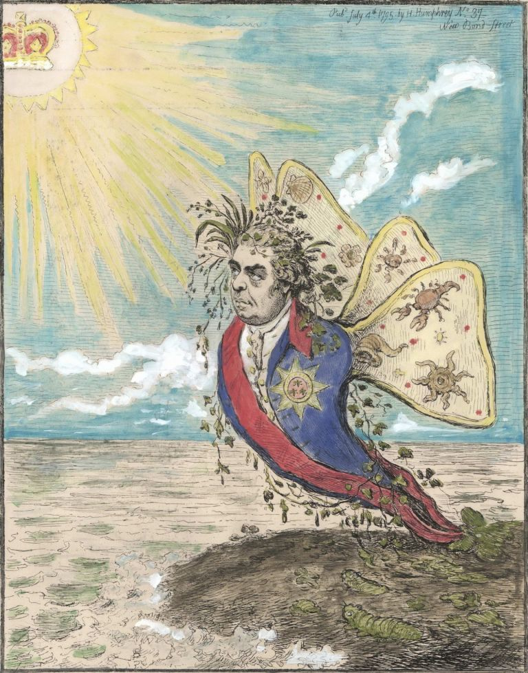 The Great South Sea Caterpillar, Transform'd Into A Bath Butterfly [Sir Joseph Banks]. James Gillray, British.
