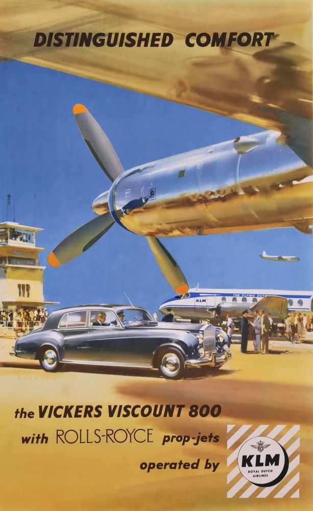 Distinguished Comfort. The Vickers Viscount 800 With Rolls Royce Prop Jets. Frank Wootton, Brit.