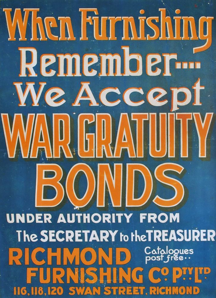 When Furnishing Remember We Accept War Gratuity Bonds