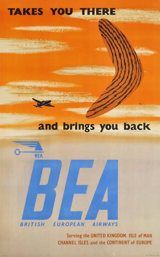 Takes You There And Brings You Back. British European Airways. Sidney Garrad, b.1916 Brit.