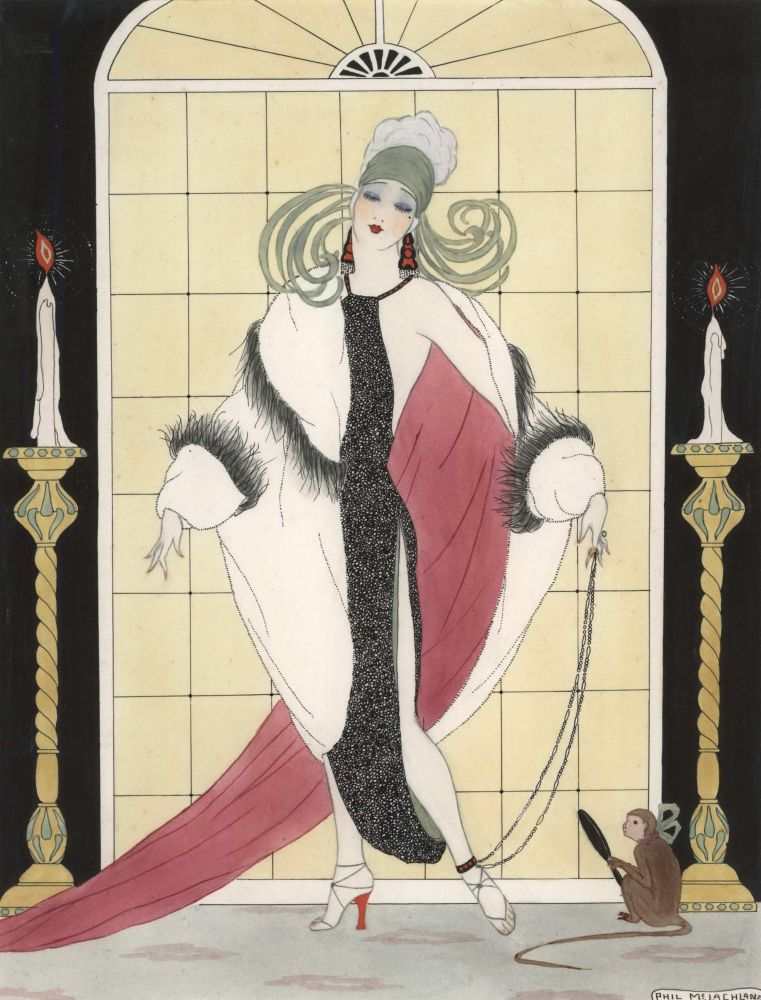 [Lady And Monkey With Mirror]. Phyllis McLachlan, Australian.