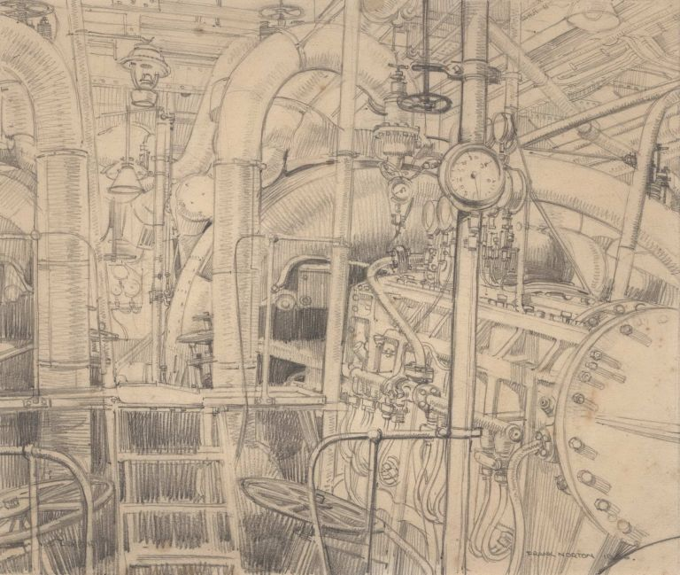 "Engine Room, HMAS ""Stuart"". Study For Painting. Frank Norton, Aust."