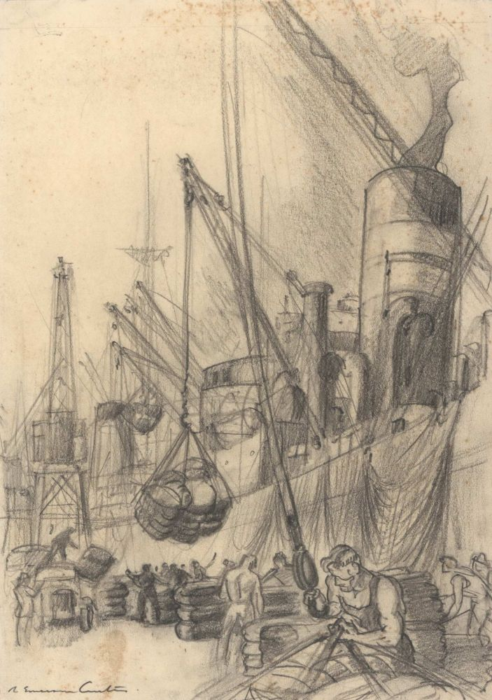 [Wharfies Loading Supplies Onto A Ship]. Robert Emerson Curtis, Aust.