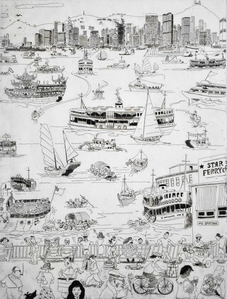 [Hong Kong Harbour]. Peter Kingston, b.1943 Aust.