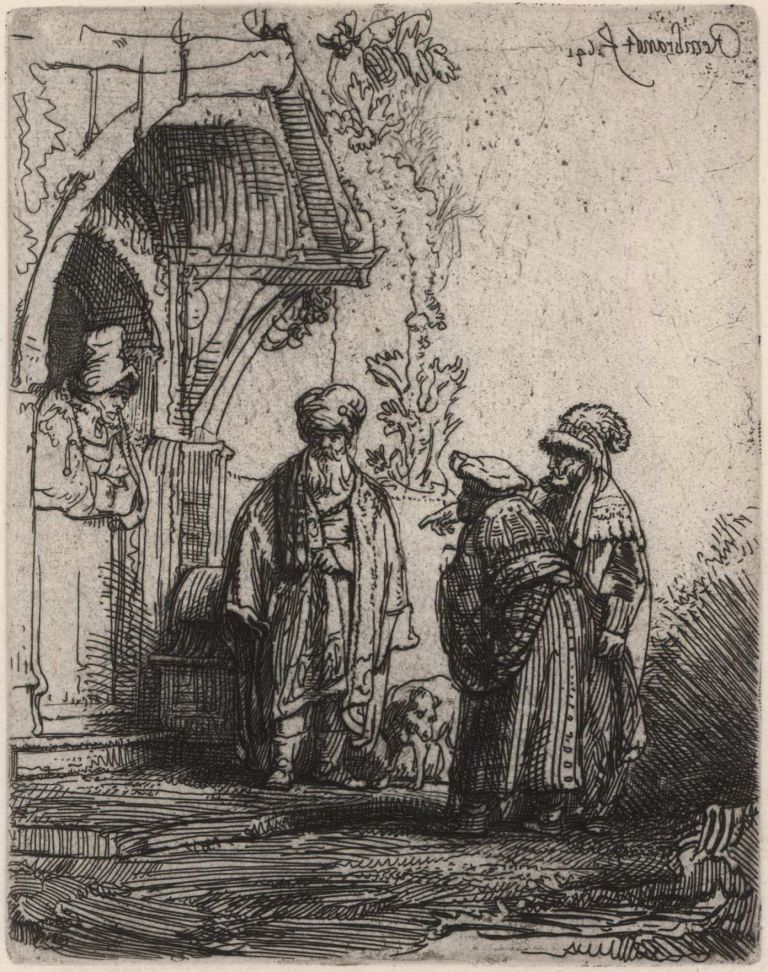 Three Oriental Figures. Rembrandt, Dutch.