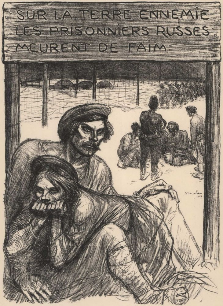 Sur La Terre Ennemie Les Prisonniers Russes Meurent De Faim (On Enemy Soil Russian Prisoners Are Dying Of Hunger). Alexandre Théophile Steinlen, French.