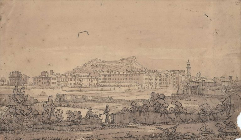 Park Of Nice; View Of Nice From The Mouth Of The River Paglion [sic]; and [View Of Beachfront In Nice, France]. Attrib. David Roberts, Brit.