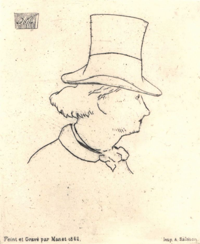 Profile Portrait Of Charles Baudelaire. Edouard Manet, French.