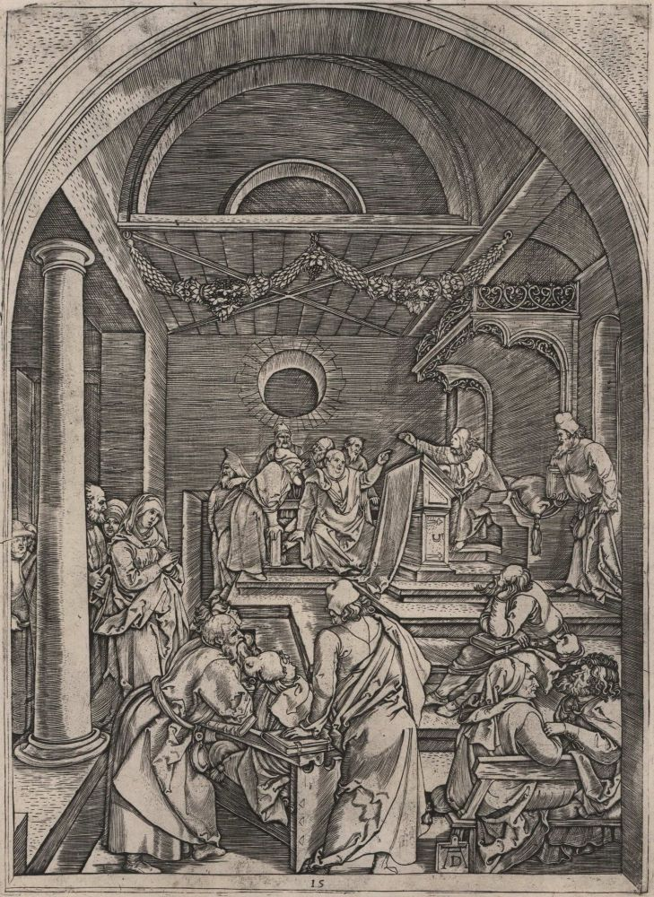 Christ Among The Doctors In The Temple. Marcantonio Raimondi . After Albrecht Dürer, c1480-c1534 Italian, German.