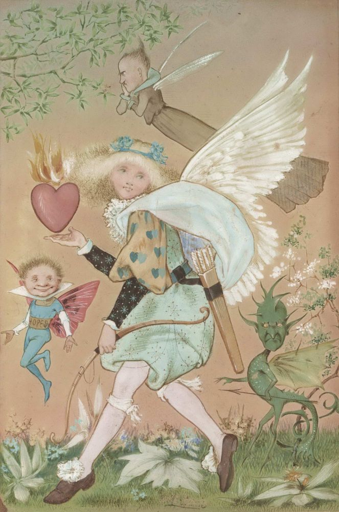 [Burning Heart With Cupid, Goblin, Angel And Fairy Figures]. Anon.