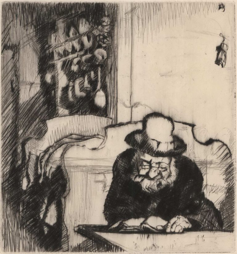 [Rabbi Studying]. Sir Frank Brangwyn, Brit.