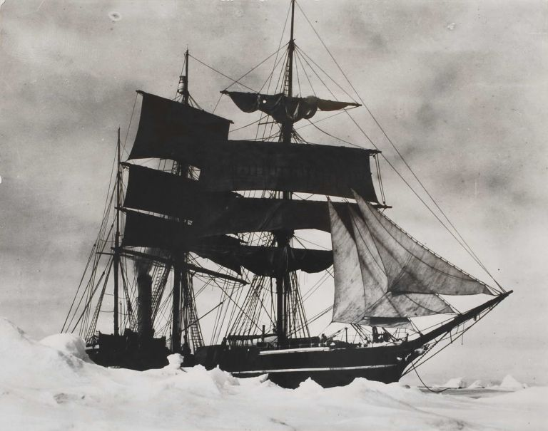 "The ""Terra Nova"" Held Up In The Pack, [Ice Point In The Foreground, Antarctica]. Herbert G. Ponting, Brit."