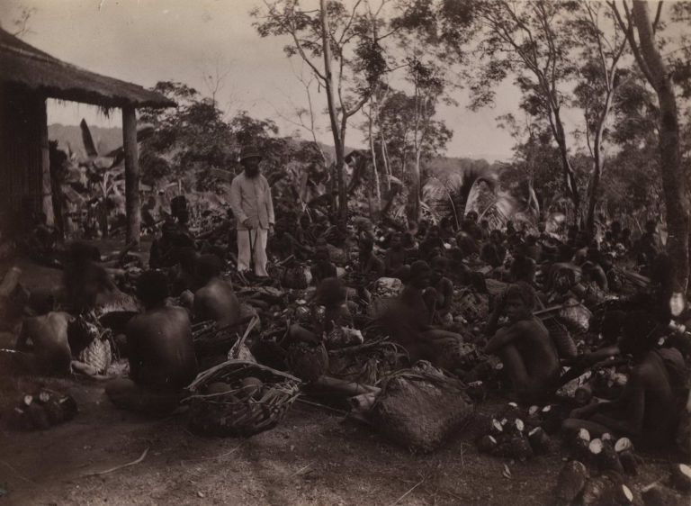 Market Day In Ralum [Papua New Guinea, Showing Parkinson With Locals]. Richard Parkinson, Danish.