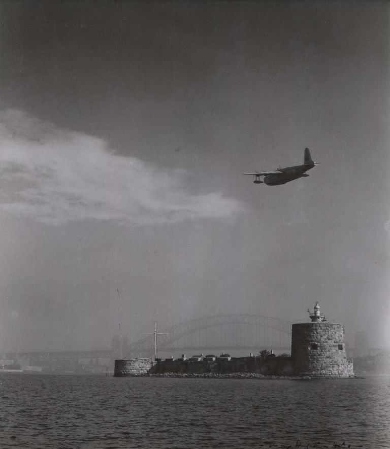 [Sea Plane Flying Over Fort Denison, Sydney Harbour]. Max Dupain, Australian.