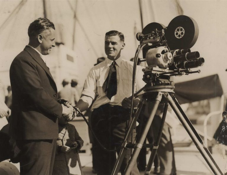 "Cameraman Ray Vaughan Filming At A Movietone Event On Board SS ""Sierra"",  Circular Quay, Sydney by active Aust , s, Broughton, Ward on Josef Lebovic"