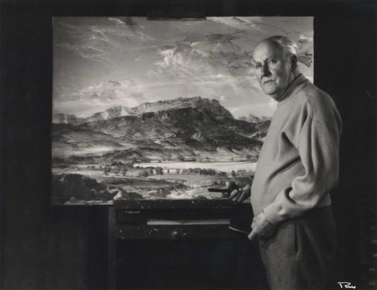 [Sir Hans Heysen With One Of His Paintings]. Peter Medlen, active 1950s-1970s Australian.