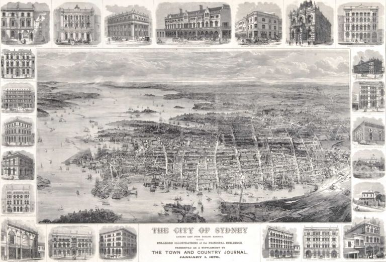 The City Of Sydney Looking East From Darling Harbour. Samuel Calvert .  After  A. C. Cooke, Aust.