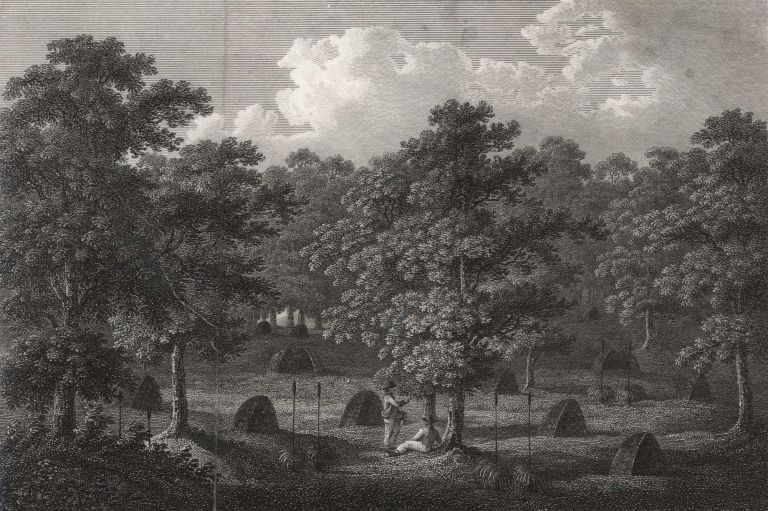 A Deserted Indian Village In King George III Sound, New Holland [Western Australia].  After  John Sykes, British.