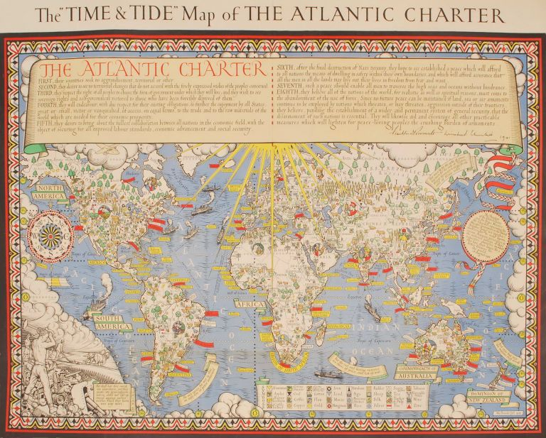 "The ''Time & Tide'' Map Of The Atlantic Charter. MacDonald ""Max"" Gill, Brit."