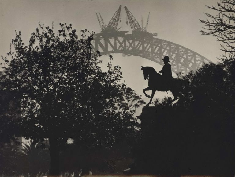 Joining Of The Two Arcs, The Sydney Harbour Bridge, From The Domain. E O. Hoppé, British.