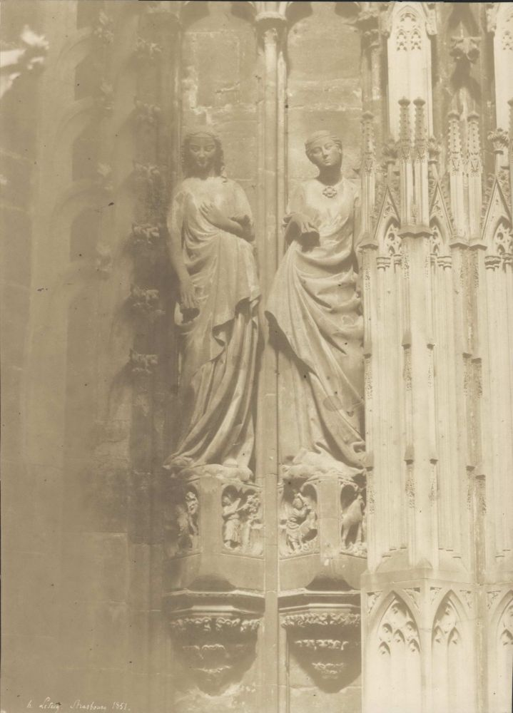 [Two Female Sculptures, Notre Dame Cathedral, Strasbourg, France]. Henri Le Secq, French.