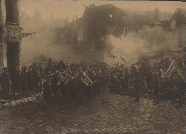 The Band Of The 5th Australian [Infantry Brigade]… Passing Through The Grande Place At Bapaume, France. Herbert F. Baldwin, Brit.