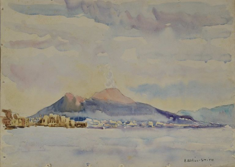 View Of Vesuvius Taken From Mergellina, Naples [Italy]. H. Nevill-Smith, active 1930s-1950s Aust.