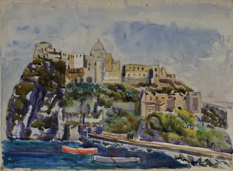 View Of The Famous Old Castle At Island Ischia, Near Naples [Aragonese Castle, Italy]. H. Nevill-Smith, active 1930s-1950s Australian.