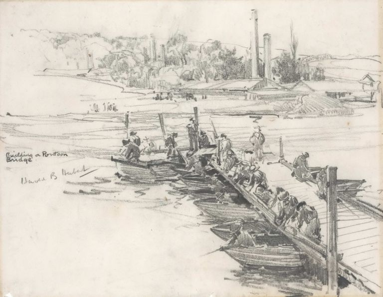 Building A Pontoon Bridge [WWII]. Harold B. Herbert, Aust.