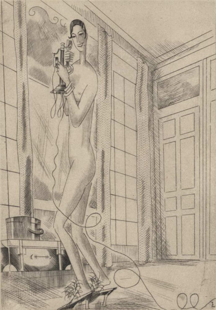 """Frontispiece For Paul Morand's """"Baton Rouge"""" [Woman On Telephone]. Jean Emile Laboureur, French."""