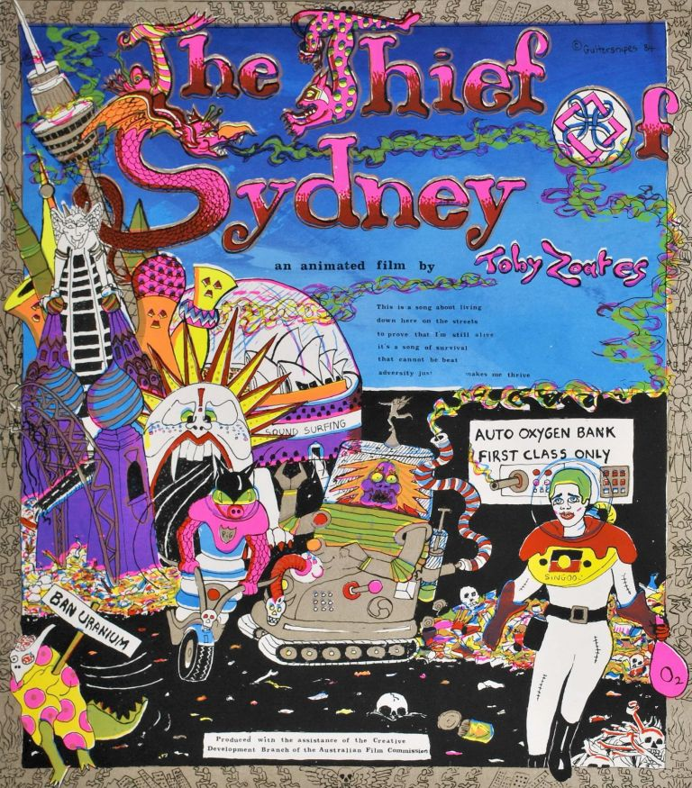 """""""The Thief Of Sydney."""" An Animated Film By Toby Zoates. Toby Zoates, b.1949 Aust."""