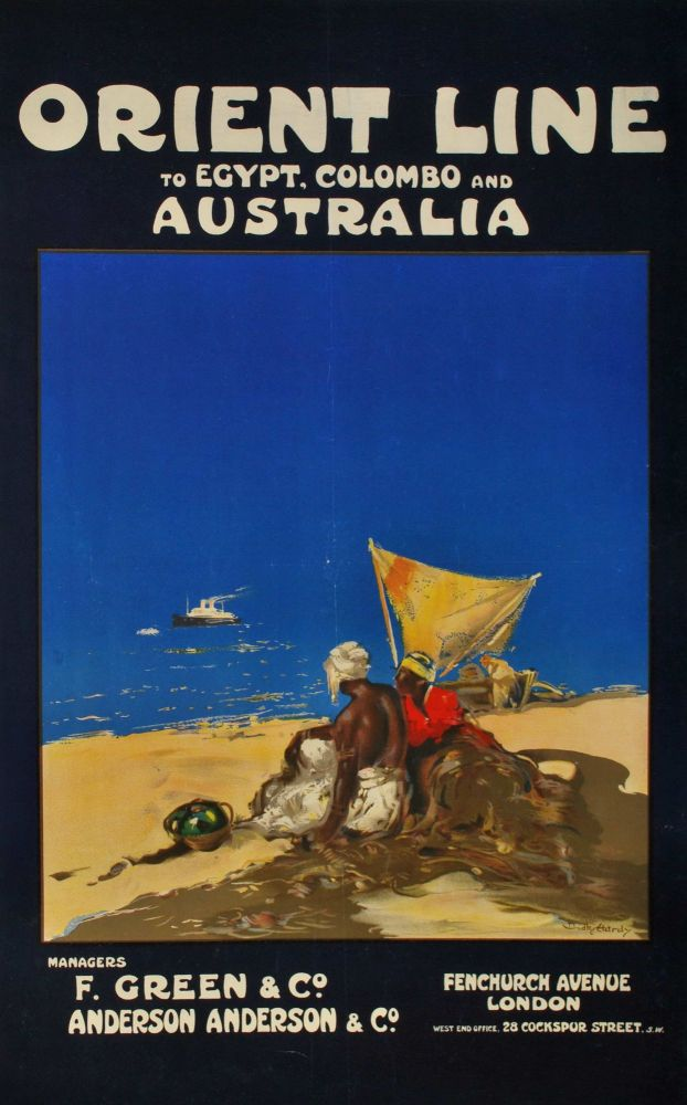 Orient Line To Egypt, Colombo And Australia. Dudley Hardy, British.