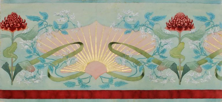 Design For Wall Covering [and] Design For Frieze. Ethel Atkinson, Aust.